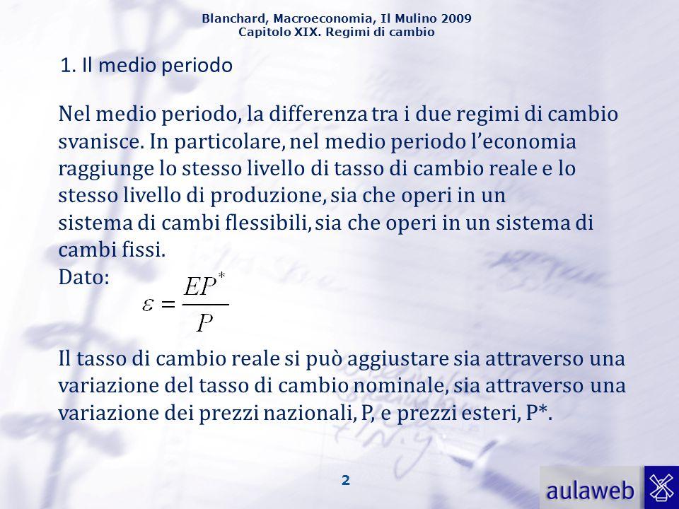 Blanchard, Macroeconomia, Il Mulino 2009 Capitolo XIX. Regimi di cambio 2 1. Il medio periodo Nel medio periodo, la differenza tra i due regimi di cam