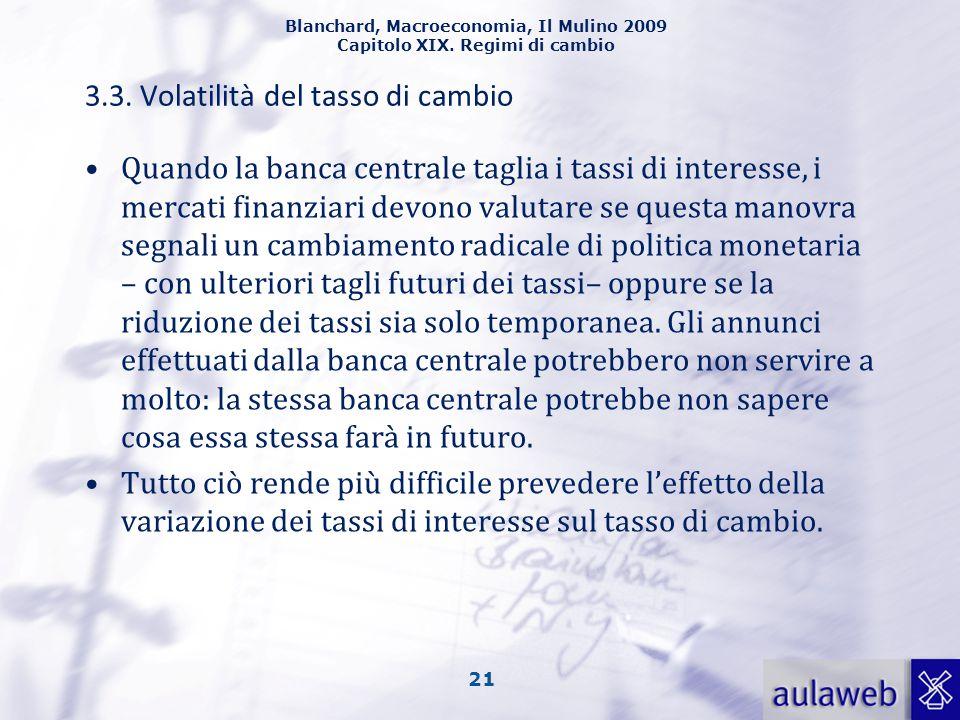 Blanchard, Macroeconomia, Il Mulino 2009 Capitolo XIX. Regimi di cambio 21 3.3. Volatilità del tasso di cambio Quando la banca centrale taglia i tassi