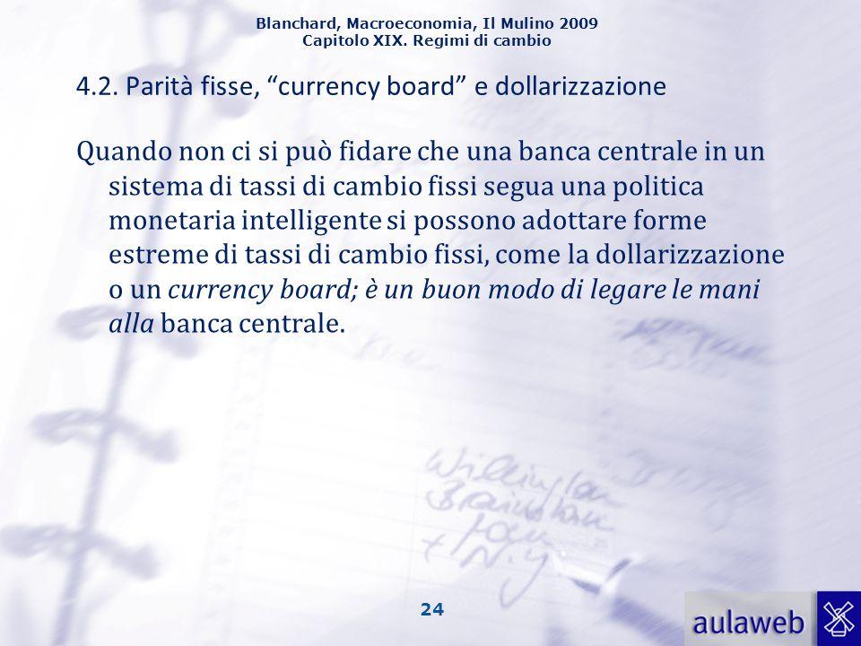"""Blanchard, Macroeconomia, Il Mulino 2009 Capitolo XIX. Regimi di cambio 24 4.2. Parità fisse, """"currency board"""" e dollarizzazione Quando non ci si può"""