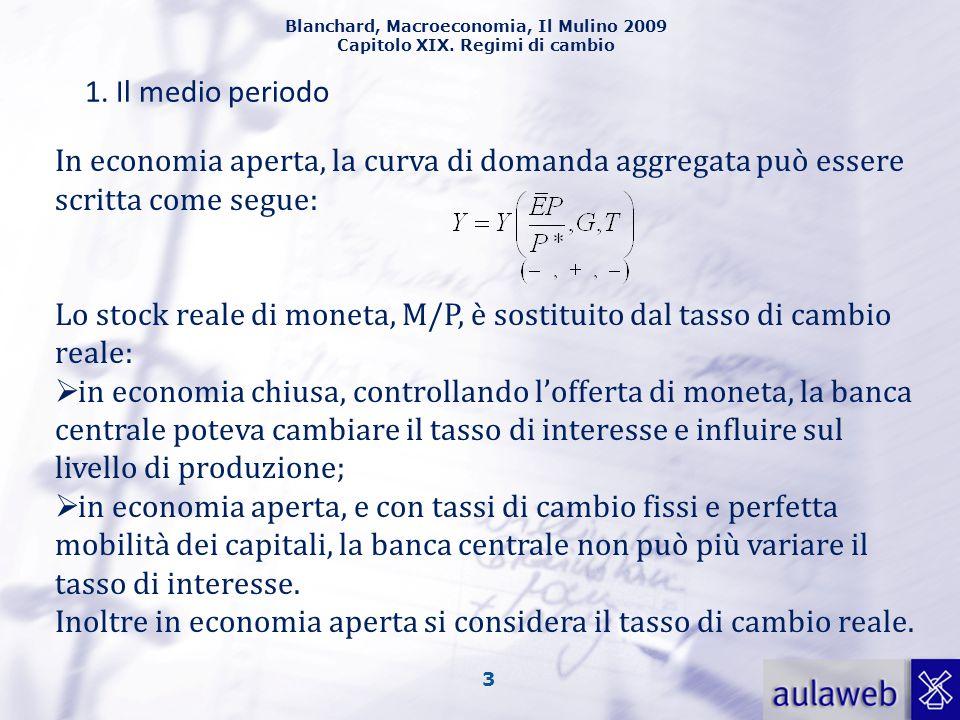 Blanchard, Macroeconomia, Il Mulino 2009 Capitolo XIX. Regimi di cambio 3 1. Il medio periodo In economia aperta, la curva di domanda aggregata può es