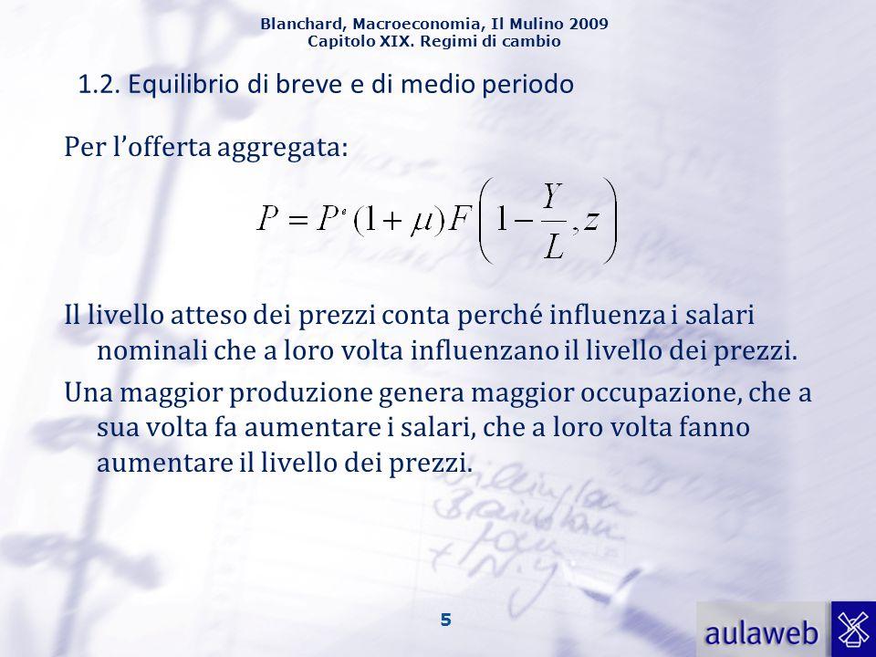 Blanchard, Macroeconomia, Il Mulino 2009 Capitolo XIX. Regimi di cambio 5 1.2. Equilibrio di breve e di medio periodo Per l'offerta aggregata: Il live