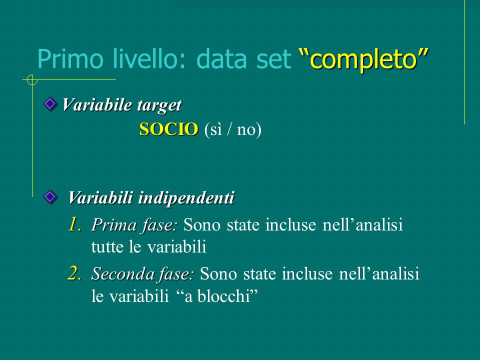 """""""completo"""" Primo livello: data set """"completo"""" Variabile target SOCIO SOCIO (sì / no) Variabili indipendenti 1. Prima fase: 1. Prima fase: Sono state i"""