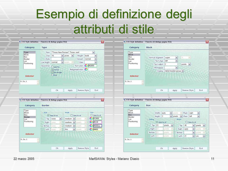 22 marzo 2005MarISAWiki Styles - Mariano Diasio11 Esempio di definizione degli attributi di stile