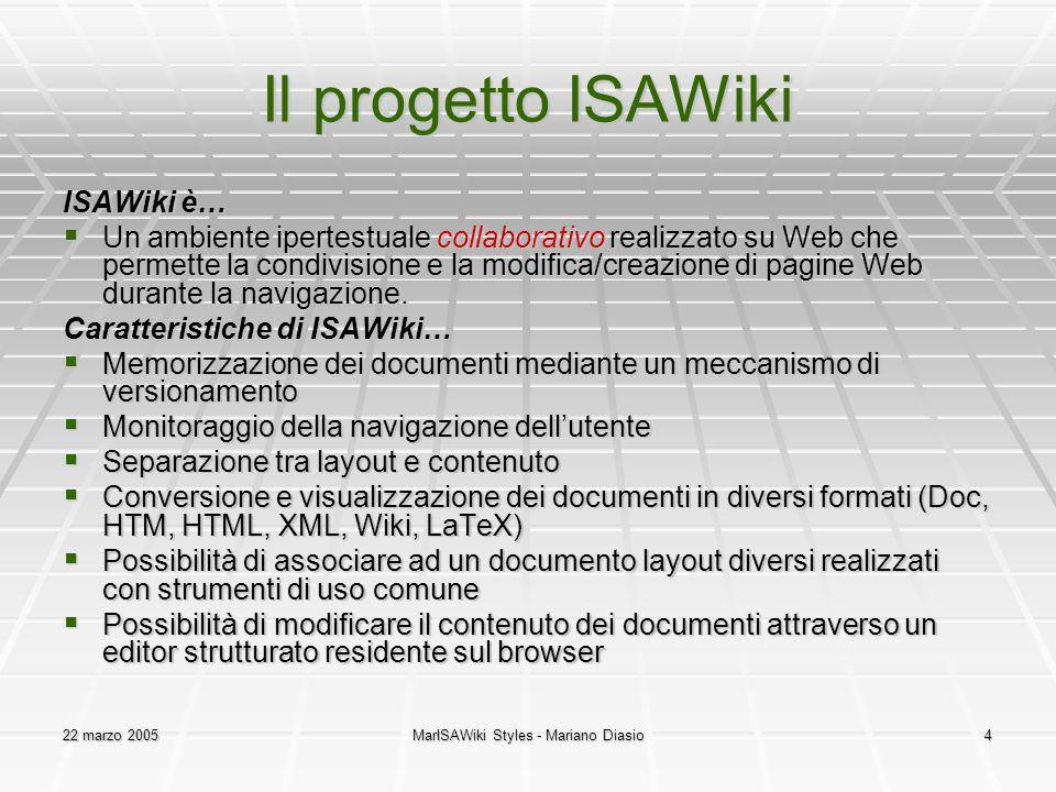 22 marzo 2005MarISAWiki Styles - Mariano Diasio4 Il progetto ISAWiki ISAWiki è…  Un ambiente ipertestuale collaborativo realizzato su Web che permett