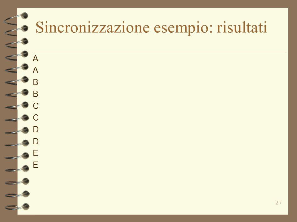 27 Sincronizzazione esempio: risultati AABBCCDDEEAABBCCDDEE