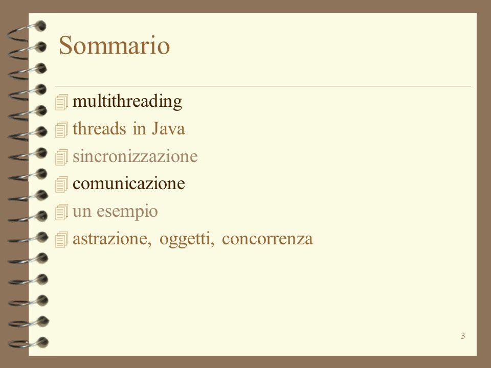3 Sommario 4 multithreading  threads in Java 4 sincronizzazione 4 comunicazione 4 un esempio 4 astrazione, oggetti, concorrenza
