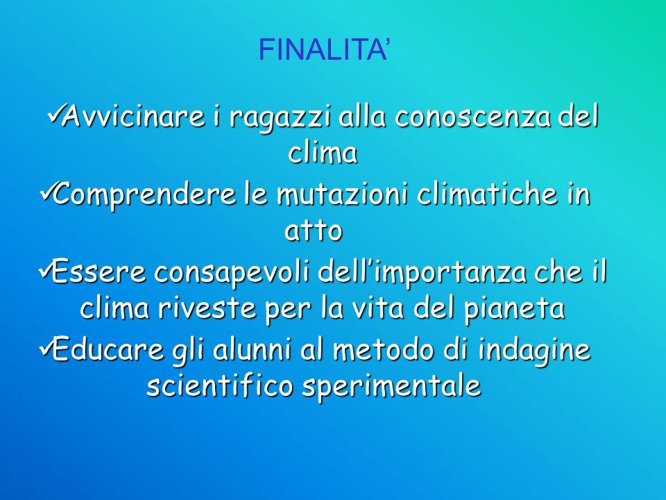 FINALITA' Educare gli alunni al metodo di indagine scientifico sperimentale Educare gli alunni al metodo di indagine scientifico sperimentale Avvicina