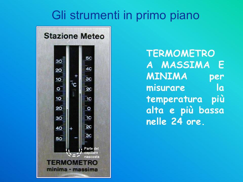 TERMOMETRO A MASSIMA E MINIMA per misurare la temperatura più alta e più bassa nelle 24 ore. Gli strumenti in primo piano