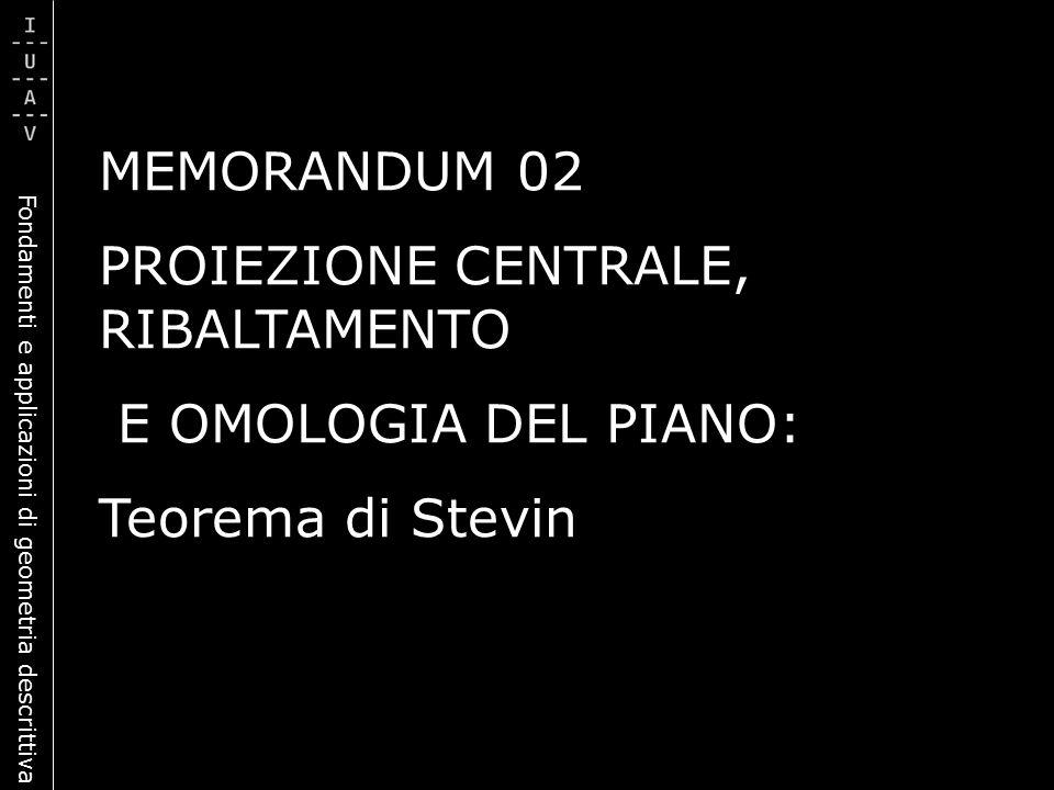 Fondamenti e applicazioni di geometria descrittiva MEMORANDUM 02 PROIEZIONE CENTRALE, RIBALTAMENTO E OMOLOGIA DEL PIANO: Teorema di Stevin
