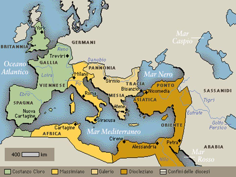 Ratio della Tetrarchia: Formalmente l'impero rimane indiviso nelle mani di Diocleziano; Amministrazione più vigile ed efficace; Regolare la successione;