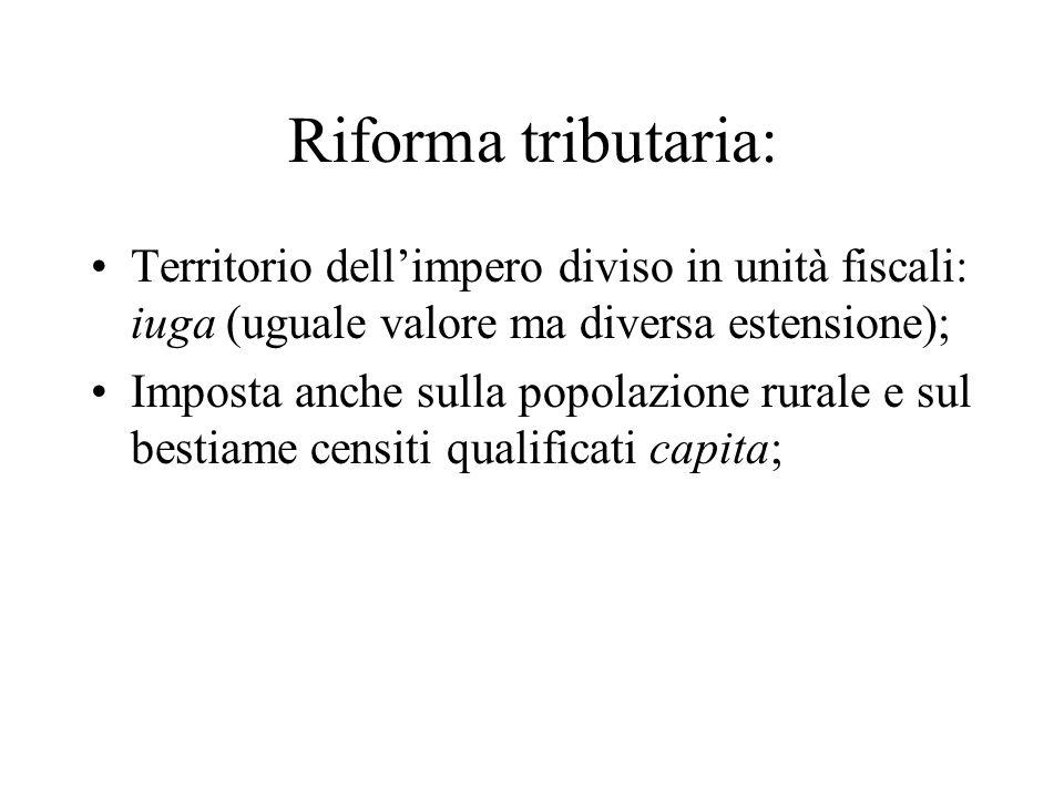 Riforma tributaria: Territorio dell'impero diviso in unità fiscali: iuga (uguale valore ma diversa estensione); Imposta anche sulla popolazione rurale