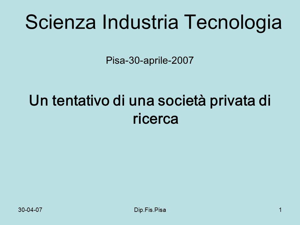 30-04-07Dip.Fis.Pisa1 Scienza Industria Tecnologia Pisa-30-aprile-2007 Un tentativo di una società privata di ricerca