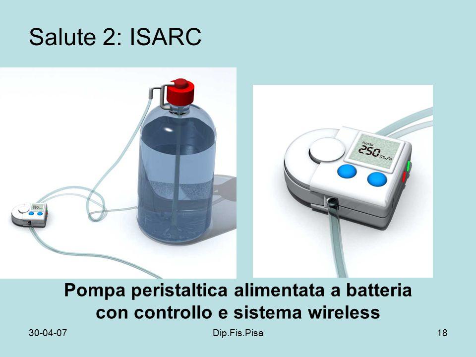 30-04-07Dip.Fis.Pisa18 Salute 2: ISARC Pompa peristaltica alimentata a batteria con controllo e sistema wireless