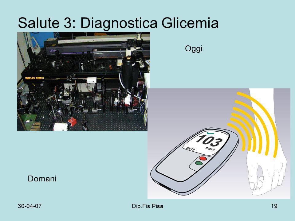 30-04-07Dip.Fis.Pisa19 Salute 3: Diagnostica Glicemia Oggi Domani