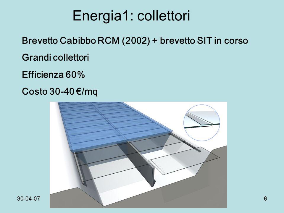 30-04-07Dip.Fis.Pisa6 Energia1: collettori Brevetto Cabibbo RCM (2002) + brevetto SIT in corso Grandi collettori Efficienza 60% Costo 30-40 €/mq
