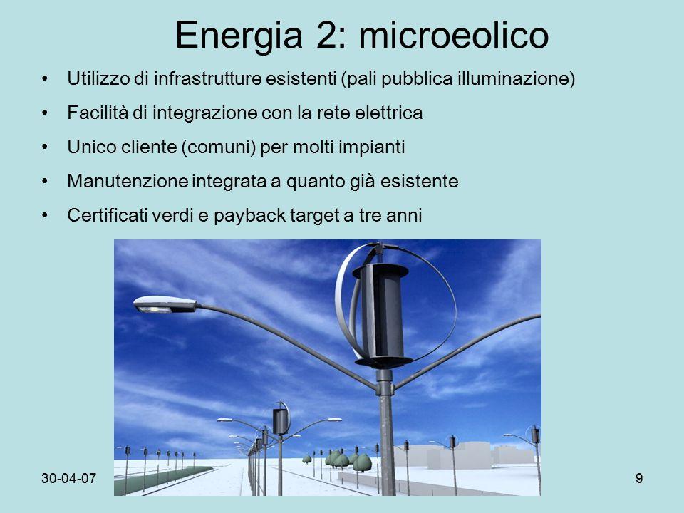 30-04-07Dip.Fis.Pisa9 Energia 2: microeolico Utilizzo di infrastrutture esistenti (pali pubblica illuminazione) Facilità di integrazione con la rete elettrica Unico cliente (comuni) per molti impianti Manutenzione integrata a quanto già esistente Certificati verdi e payback target a tre anni