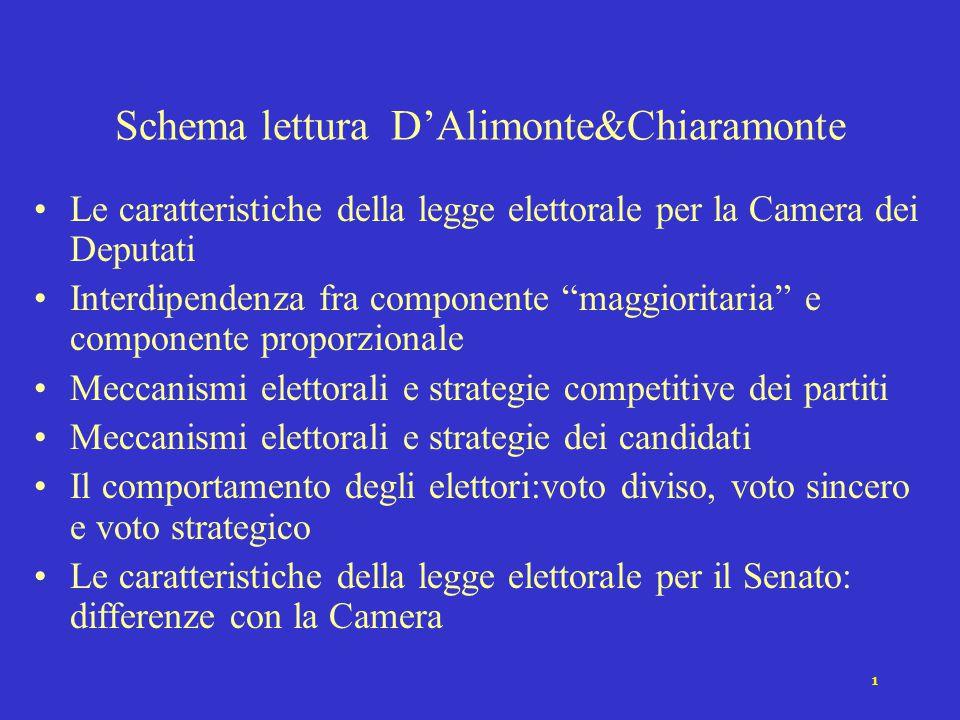 11 Le differenze negli effetti sulle strategie degli elettori Gli effetti dell'interconnessione fra sistema proporzionale e maggioritario sono molto attenuati rispetto alla Camera.