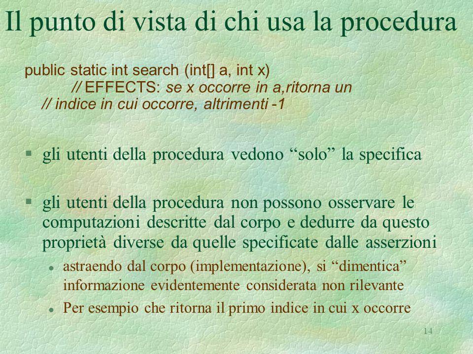 """14 Il punto di vista di chi usa la procedura §gli utenti della procedura vedono """"solo"""" la specifica §gli utenti della procedura non possono osservare"""