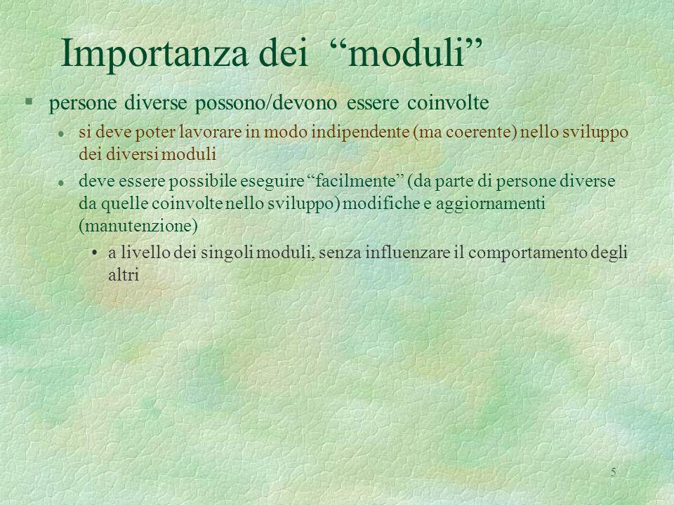 """5 Importanza dei """"moduli"""" §persone diverse possono/devono essere coinvolte l si deve poter lavorare in modo indipendente (ma coerente) nello sviluppo"""