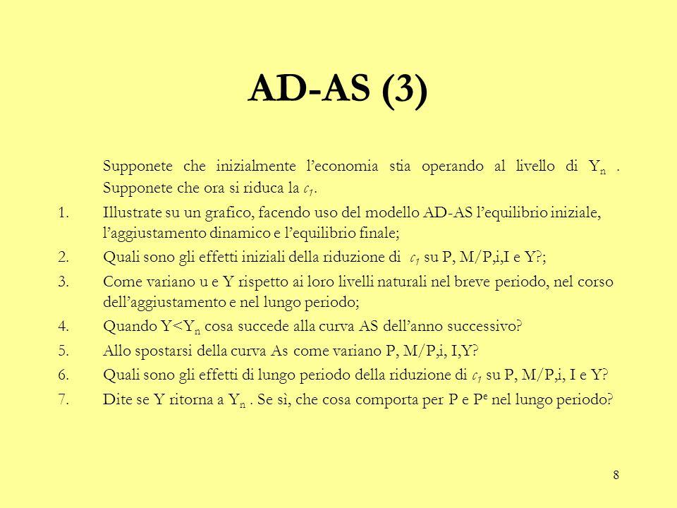 8 AD-AS (3) Supponete che inizialmente l'economia stia operando al livello di Y n. Supponete che ora si riduca la c 1. 1.Illustrate su un grafico, fac
