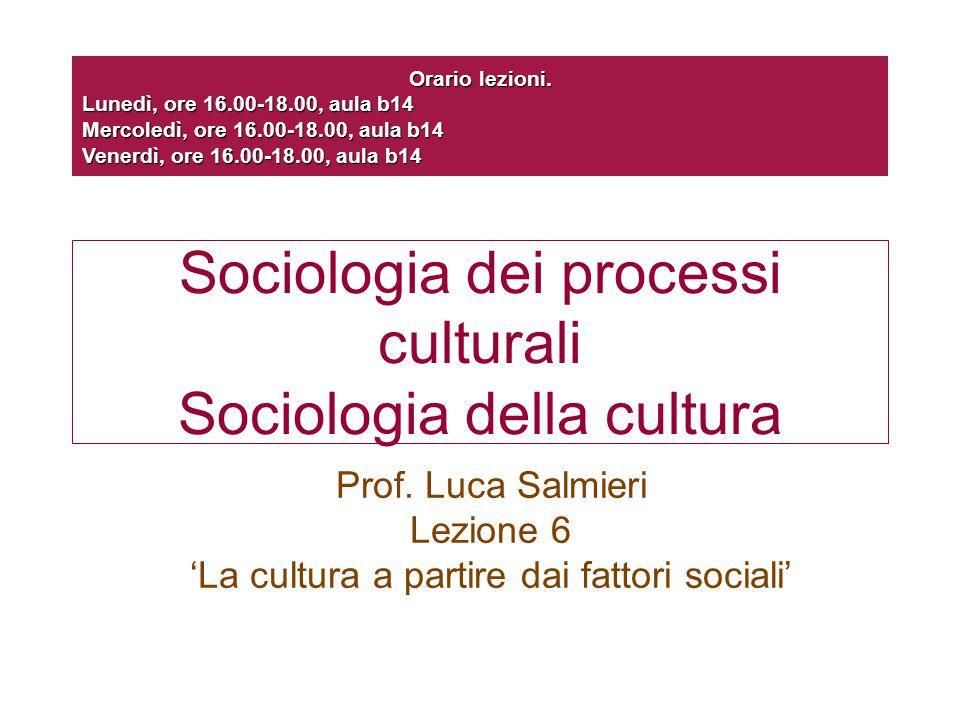 Sociologia dei processi culturali Sociologia della cultura Prof. Luca Salmieri Lezione 6 'La cultura a partire dai fattori sociali' Orario lezioni. Lu