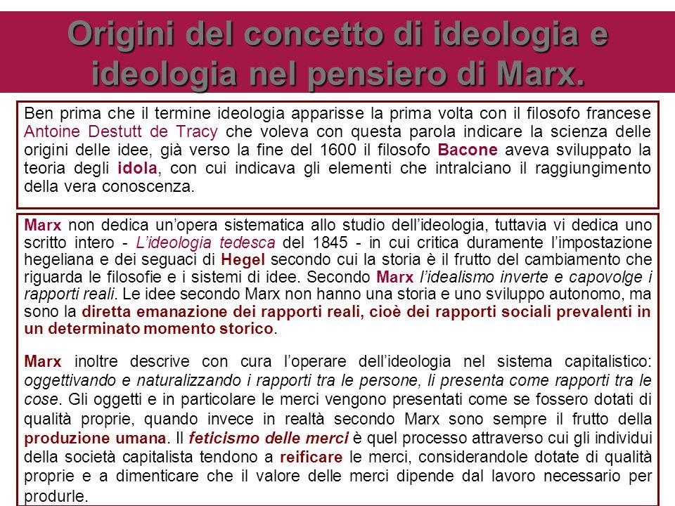 Origini del concetto di ideologia e ideologia nel pensiero di Marx. Ben prima che il termine ideologia apparisse la prima volta con il filosofo france
