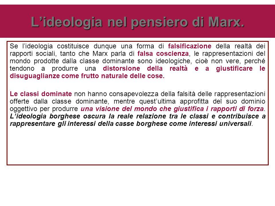 Se l'ideologia costituisce dunque una forma di falsificazione della realtà dei rapporti sociali, tanto che Marx parla di falsa coscienza, le rappresen