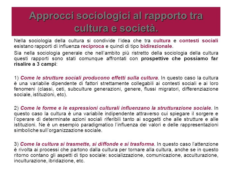 Approcci sociologici al rapporto tra cultura e società. Nella sociologia della cultura si condivide l'idea che tra cultura e contesti sociali esistano