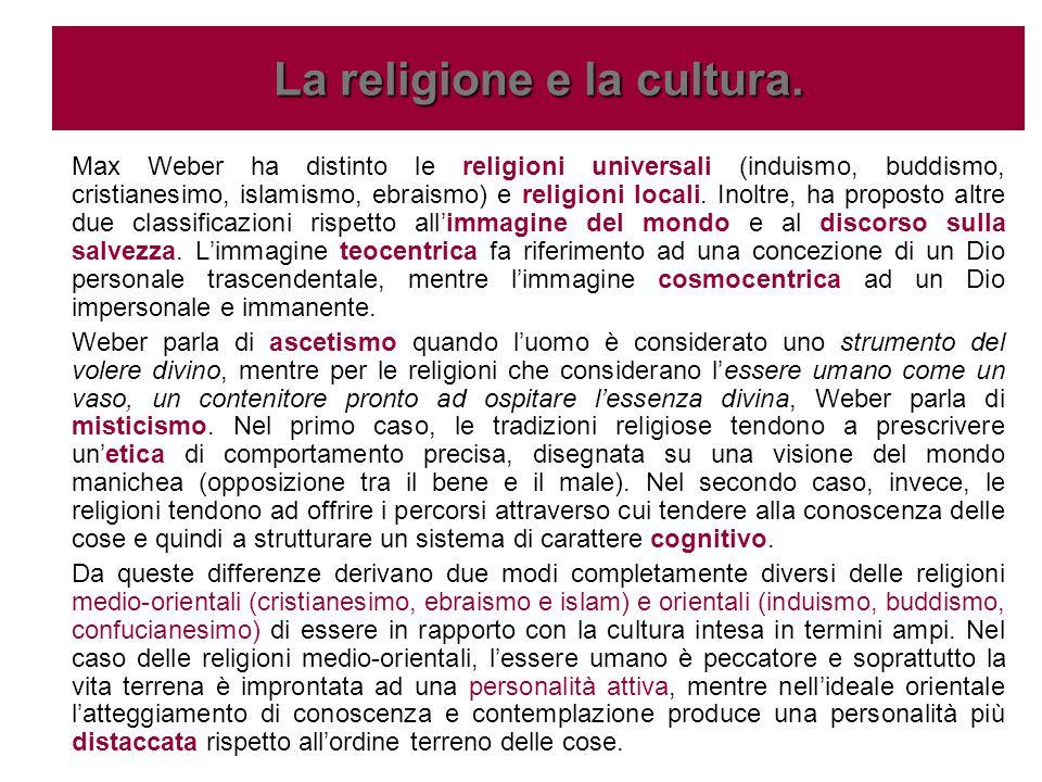 Max Weber ha distinto le religioni universali (induismo, buddismo, cristianesimo, islamismo, ebraismo) e religioni locali. Inoltre, ha proposto altre