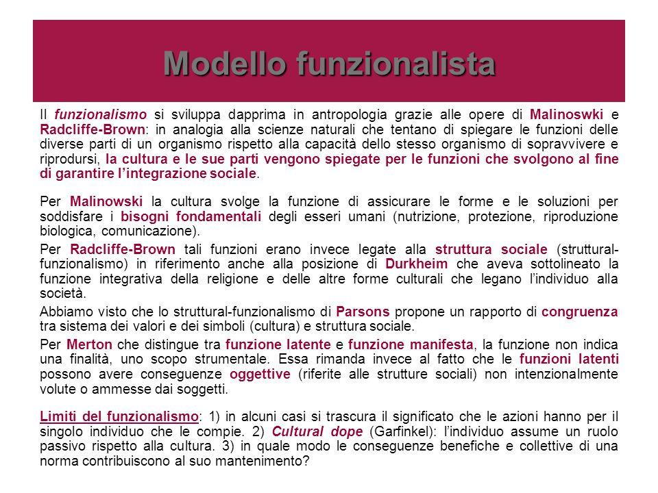 Modello funzionalista Il funzionalismo si sviluppa dapprima in antropologia grazie alle opere di Malinoswki e Radcliffe-Brown: in analogia alla scienz