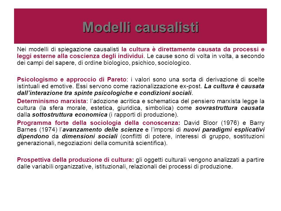 Modelli causalisti Nei modelli di spiegazione causalisti la cultura è direttamente causata da processi e leggi esterne alla coscienza degli individui.