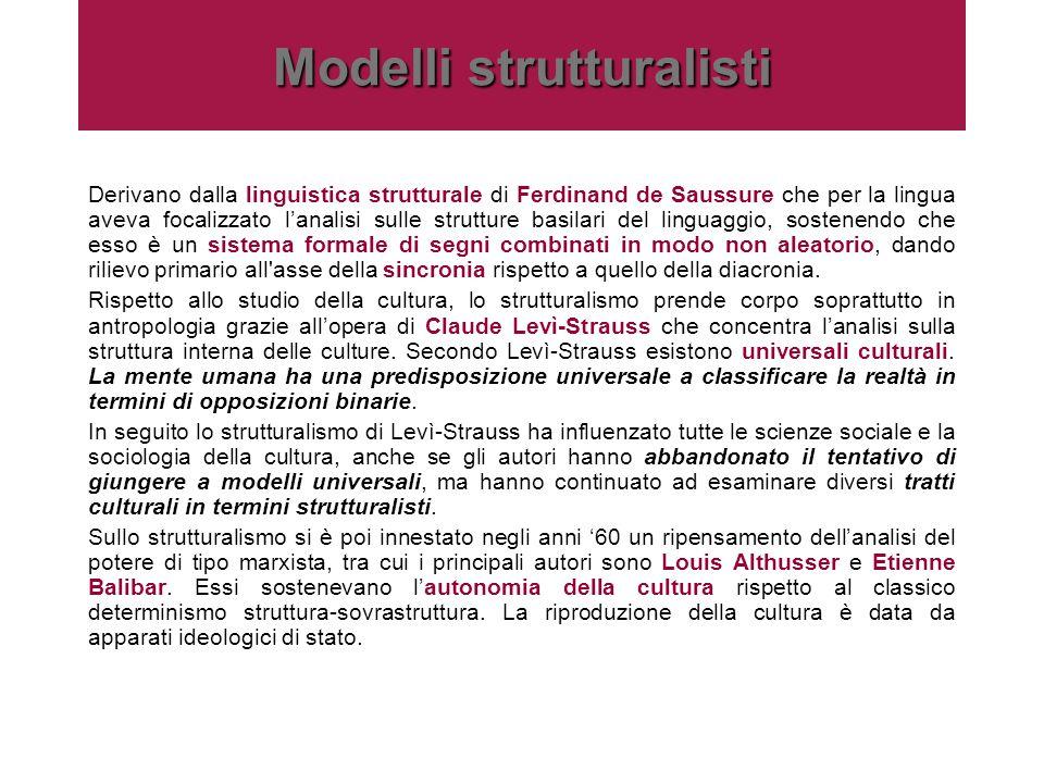 Modelli strutturalisti Derivano dalla linguistica strutturale di Ferdinand de Saussure che per la lingua aveva focalizzato l'analisi sulle strutture b