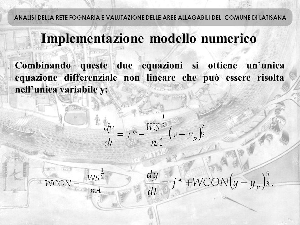 Implementazione modello numerico ANALISI DELLA RETE FOGNARIA E VALUTAZIONE DELLE AREE ALLAGABILI DEL COMUNE DI LATISANA Combinando queste due equazion