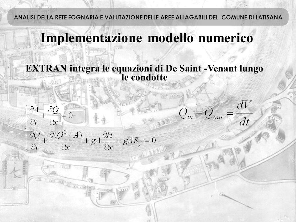 Implementazione modello numerico ANALISI DELLA RETE FOGNARIA E VALUTAZIONE DELLE AREE ALLAGABILI DEL COMUNE DI LATISANA EXTRAN integra le equazioni di