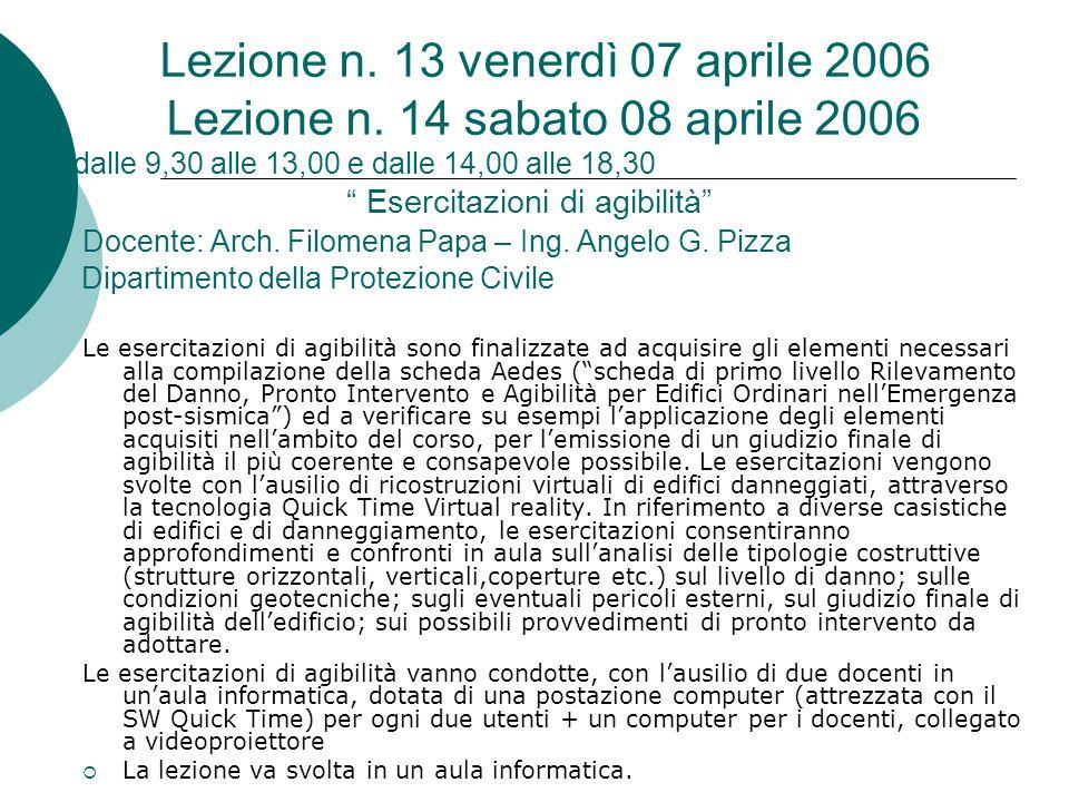 """Lezione n. 13 venerdì 07 aprile 2006 Lezione n. 14 sabato 08 aprile 2006 dalle 9,30 alle 13,00 e dalle 14,00 alle 18,30 """" Esercitazioni di agibilità"""""""