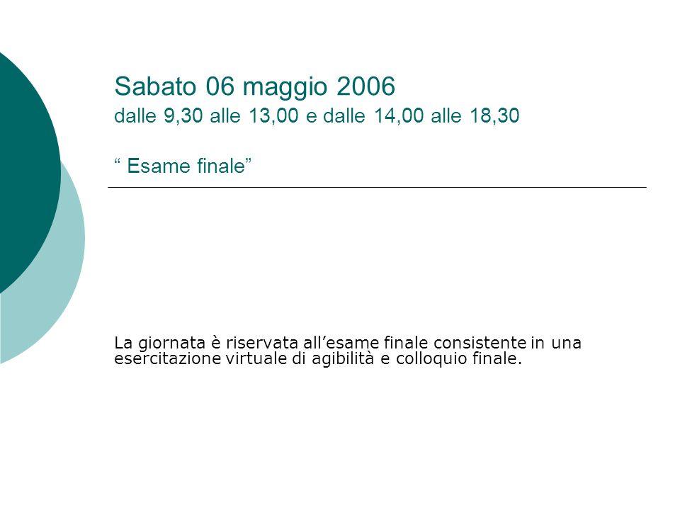 """Sabato 06 maggio 2006 dalle 9,30 alle 13,00 e dalle 14,00 alle 18,30 """" Esame finale"""" La giornata è riservata all'esame finale consistente in una eserc"""