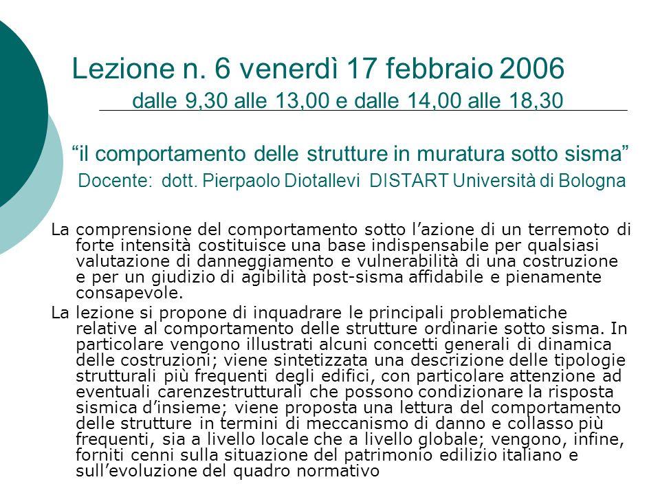 """Lezione n. 6 venerdì 17 febbraio 2006 dalle 9,30 alle 13,00 e dalle 14,00 alle 18,30 """"il comportamento delle strutture in muratura sotto sisma"""" Docent"""