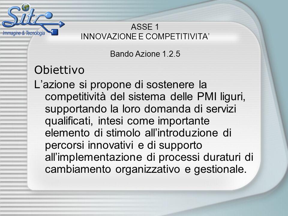 ASSE 1 INNOVAZIONE E COMPETITIVITA' Bando Azione 1.2.5 Obiettivo L'azione si propone di sostenere la competitività del sistema delle PMI liguri, supportando la loro domanda di servizi qualificati, intesi come importante elemento di stimolo all'introduzione di percorsi innovativi e di supporto all'implementazione di processi duraturi di cambiamento organizzativo e gestionale.