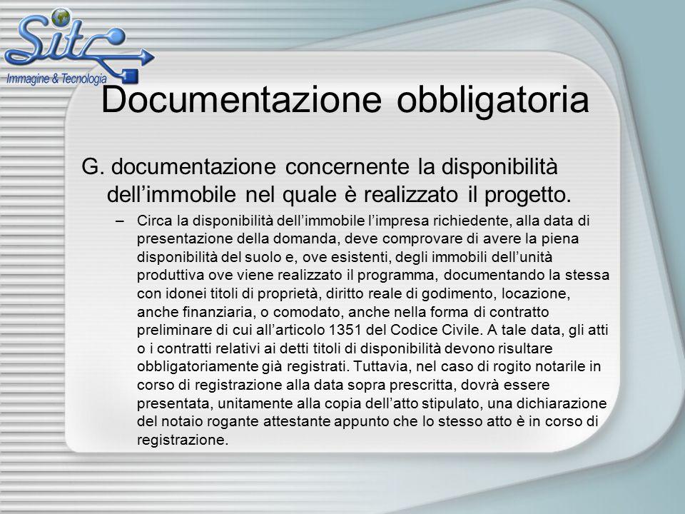 Documentazione obbligatoria G.