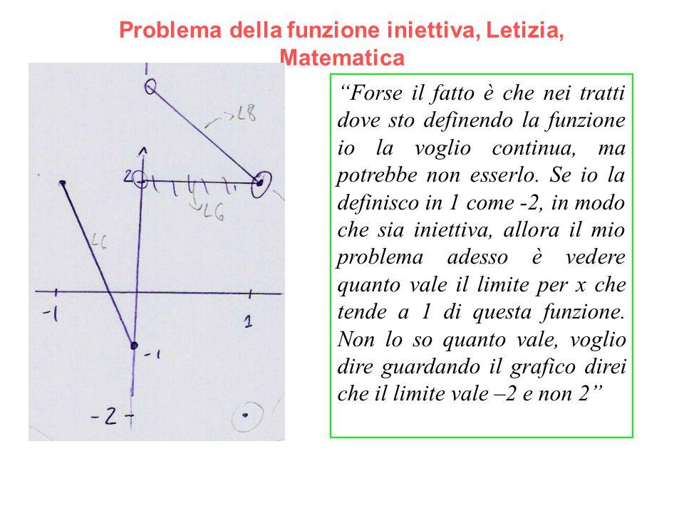 """Problema della funzione iniettiva, Letizia, Matematica """"Forse il fatto è che nei tratti dove sto definendo la funzione io la voglio continua, ma potre"""