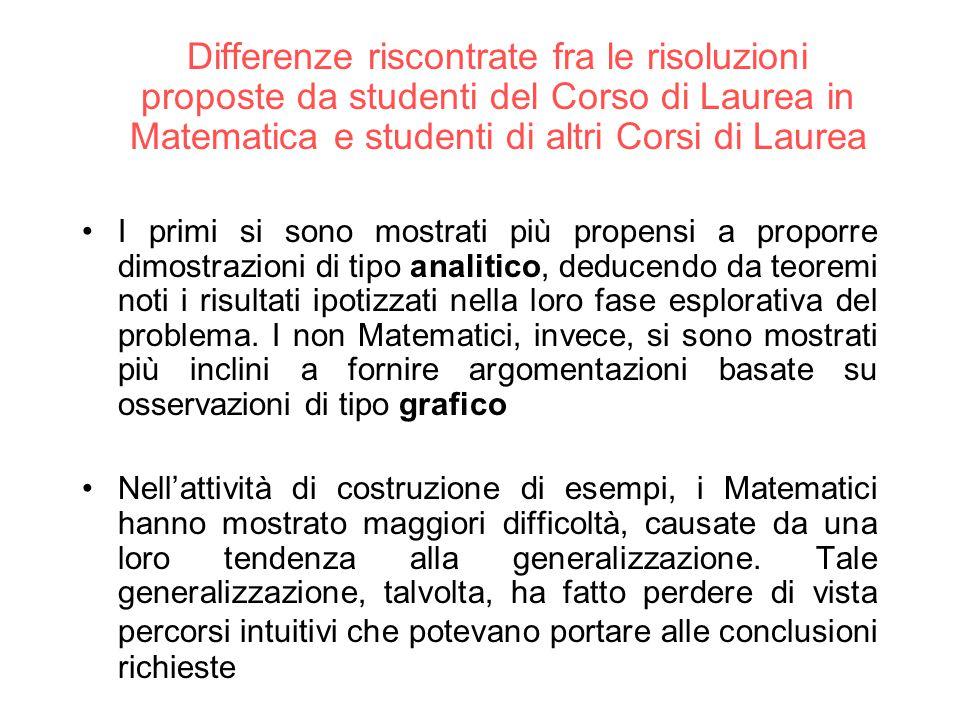 Differenze riscontrate fra le risoluzioni proposte da studenti del Corso di Laurea in Matematica e studenti di altri Corsi di Laurea I primi si sono m