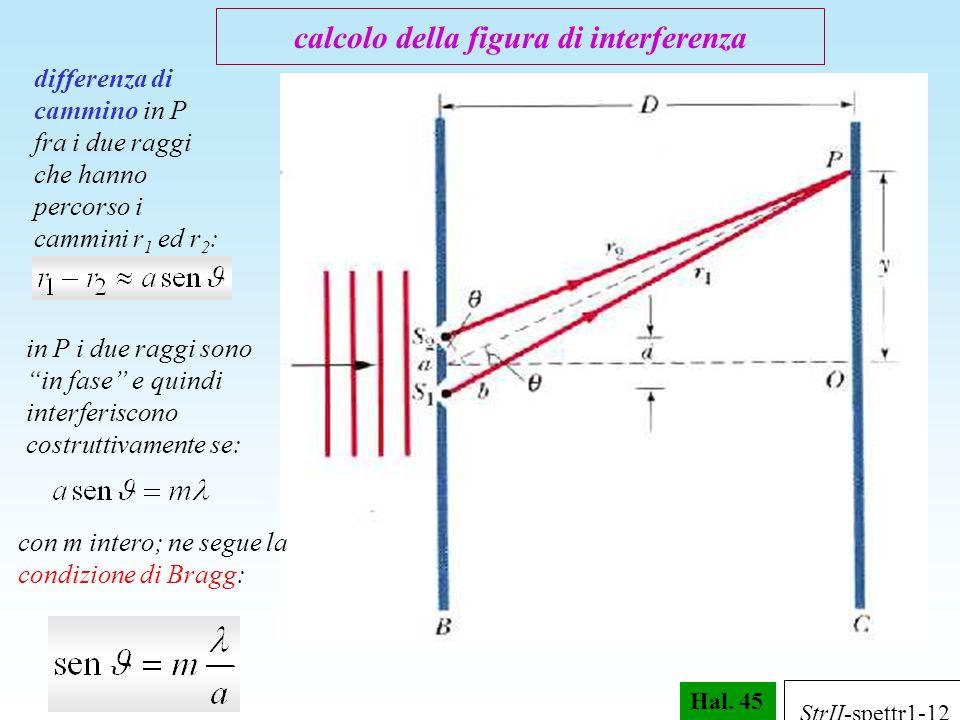 """Hal. 45 differenza di cammino in P fra i due raggi che hanno percorso i cammini r 1 ed r 2 : in P i due raggi sono """"in fase"""" e quindi interferiscono c"""