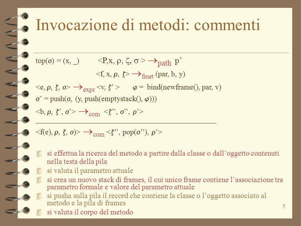 5 Invocazione di metodi: commenti top(  ) = (x, _)  path p'  fmet (par, b, y)  expr  = bind(newframe(), par, v)  ' = push( , (y, push(emptystack(),  )))  com ________________________________________________  com 4 si effettua la ricerca del metodo a partire dalla classe o dall'oggetto contenuti nella testa della pila 4 si valuta il parametro attuale 4 si crea un nuovo stack di frames, il cui unico frame contiene l'associazione tra parametro formale e valore del parametro attuale 4 si pusha sulla pila il record che contiene la classe o l'oggetto associato al metodo e la pila di frames 4 si valuta il corpo del metodo