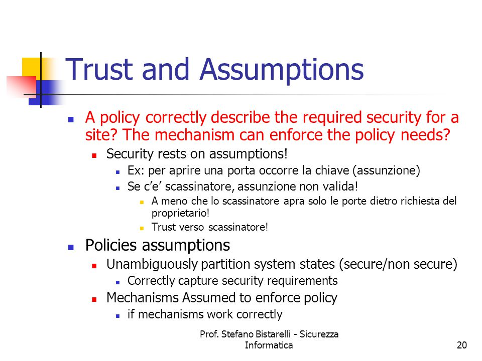 Prof. Stefano Bistarelli - Sicurezza Informatica20 Trust and Assumptions A policy correctly describe the required security for a site? The mechanism c