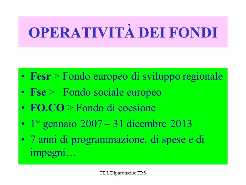 FDL Dipartimento FRS OPERATIVITÀ DEI FONDI Fesr > Fondo europeo di sviluppo regionale Fse > Fondo sociale europeo FO.CO > Fondo di coesione 1° gennaio 2007 – 31 dicembre 2013 7 anni di programmazione, di spese e di impegni…