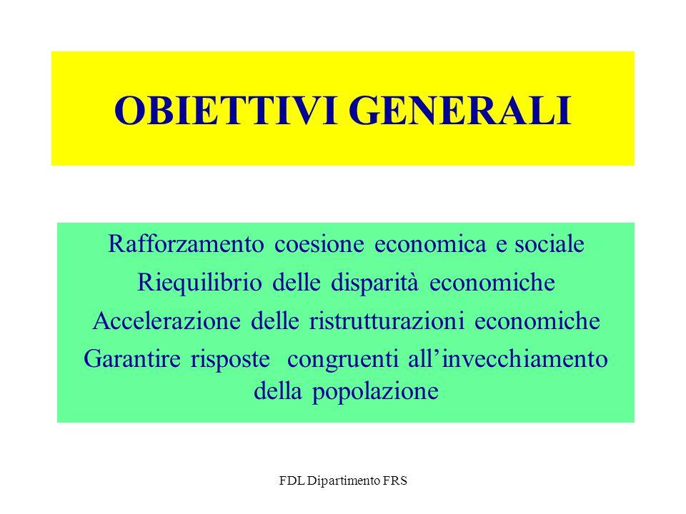 FDL Dipartimento FRS OBIETTIVI GENERALI Rafforzamento coesione economica e sociale Riequilibrio delle disparità economiche Accelerazione delle ristrutturazioni economiche Garantire risposte congruenti all'invecchiamento della popolazione