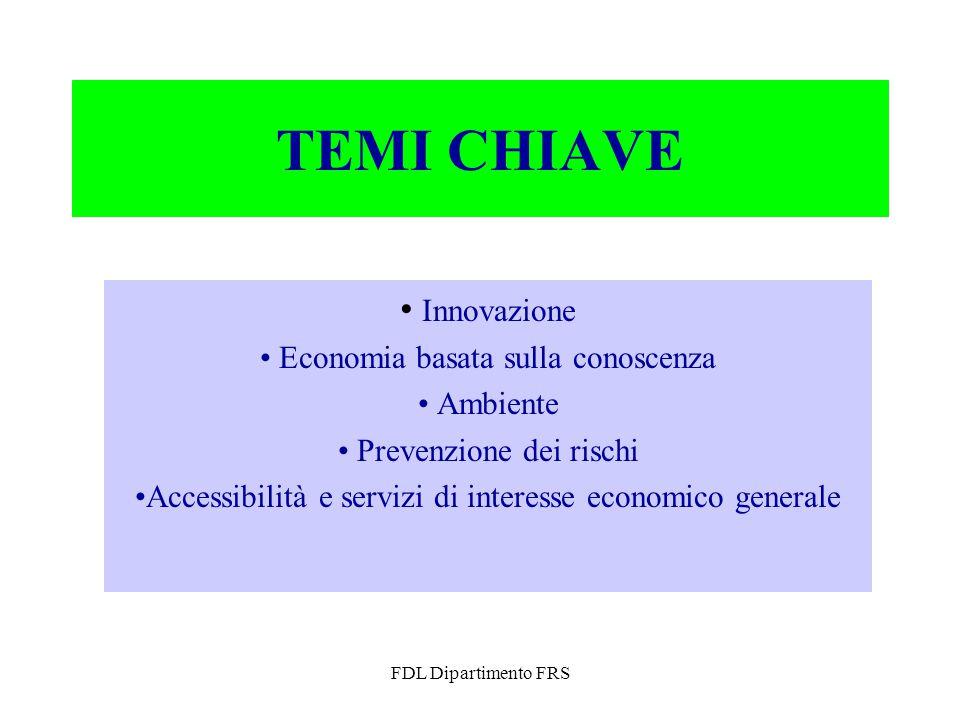 FDL Dipartimento FRS TEMI CHIAVE Innovazione Economia basata sulla conoscenza Ambiente Prevenzione dei rischi Accessibilità e servizi di interesse economico generale