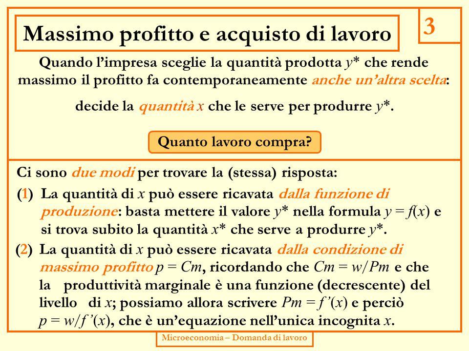3 Microeconomia – Domanda di lavoro Massimo profitto e acquisto di lavoro Quando l'impresa sceglie la quantità prodotta y* che rende massimo il profitto fa contemporaneamente anche un'altra scelta: decide la quantità x che le serve per produrre y*.