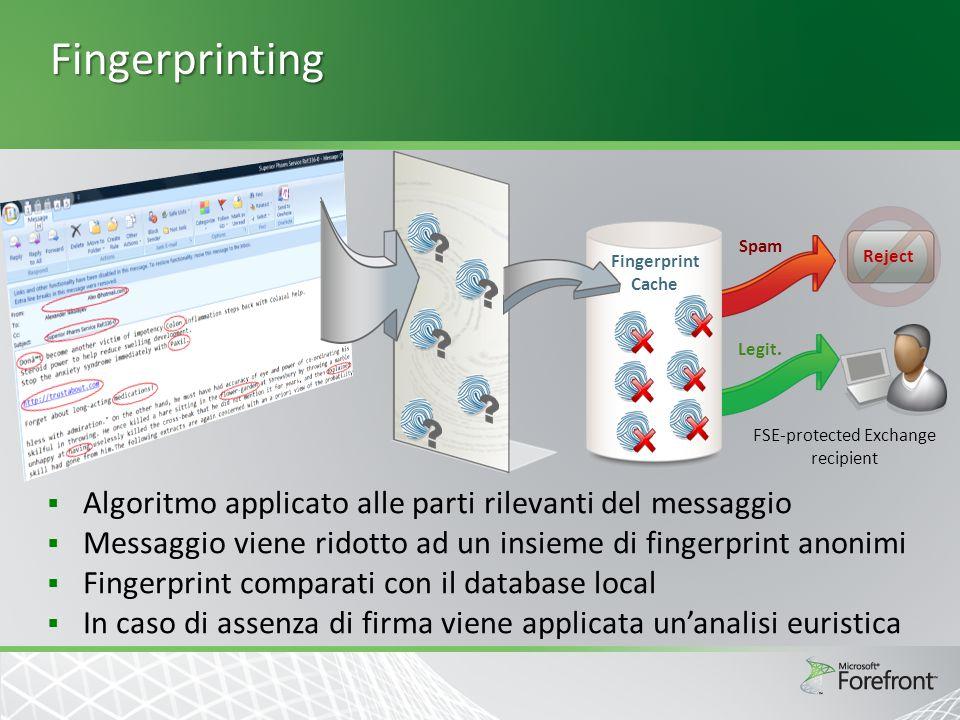 Fingerprinting  Algoritmo applicato alle parti rilevanti del messaggio  Messaggio viene ridotto ad un insieme di fingerprint anonimi  Fingerprint comparati con il database local  In caso di assenza di firma viene applicata un'analisi euristica Spam Legit.