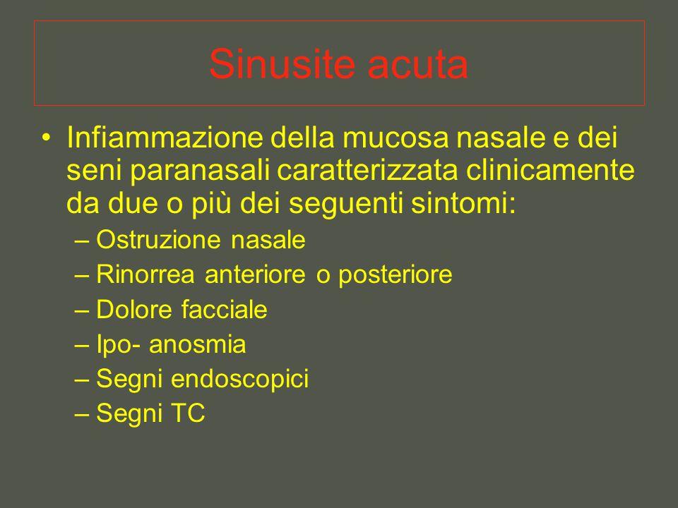 Sinusite acuta Infiammazione della mucosa nasale e dei seni paranasali caratterizzata clinicamente da due o più dei seguenti sintomi: –Ostruzione nasale –Rinorrea anteriore o posteriore –Dolore facciale –Ipo- anosmia –Segni endoscopici –Segni TC